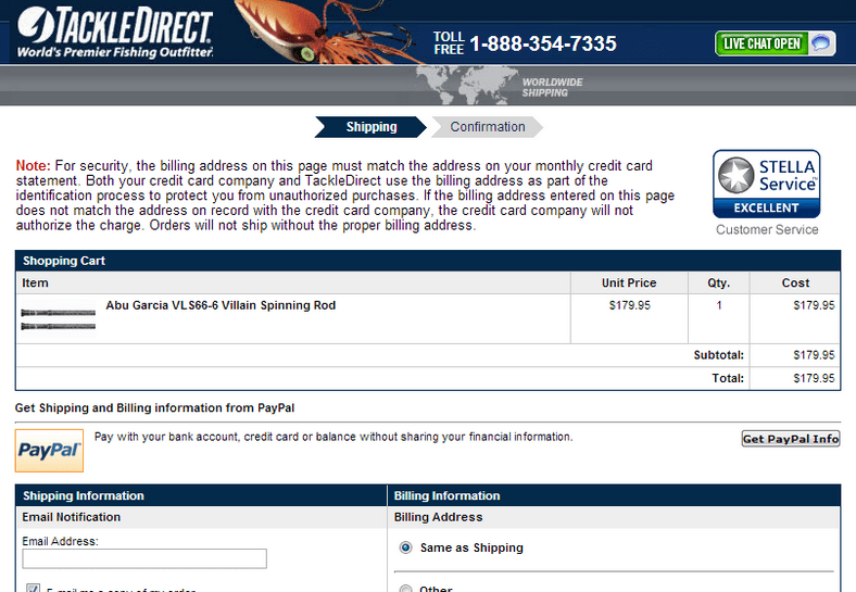 Tackle Direct Checkout page with CRO treatment
