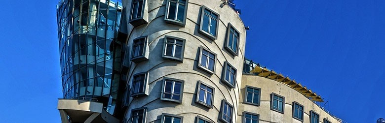 A photograph of Dancing House in Prague.