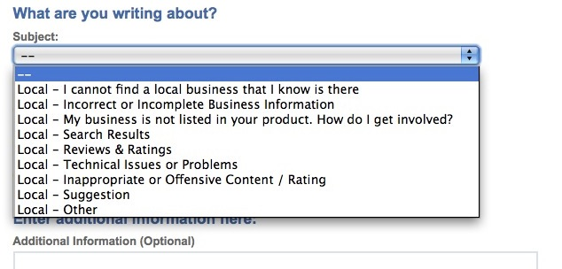 report a problem on yahoo local