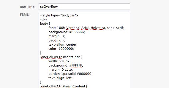enter FBML code