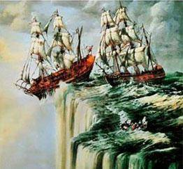 An illustration of two ships sailing off the edge of the world.