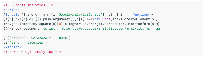 Google Analytics Code Snippet Example