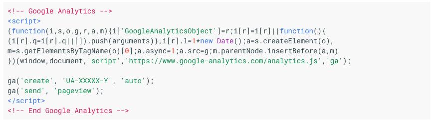 Google Analytics Code Snippet Example