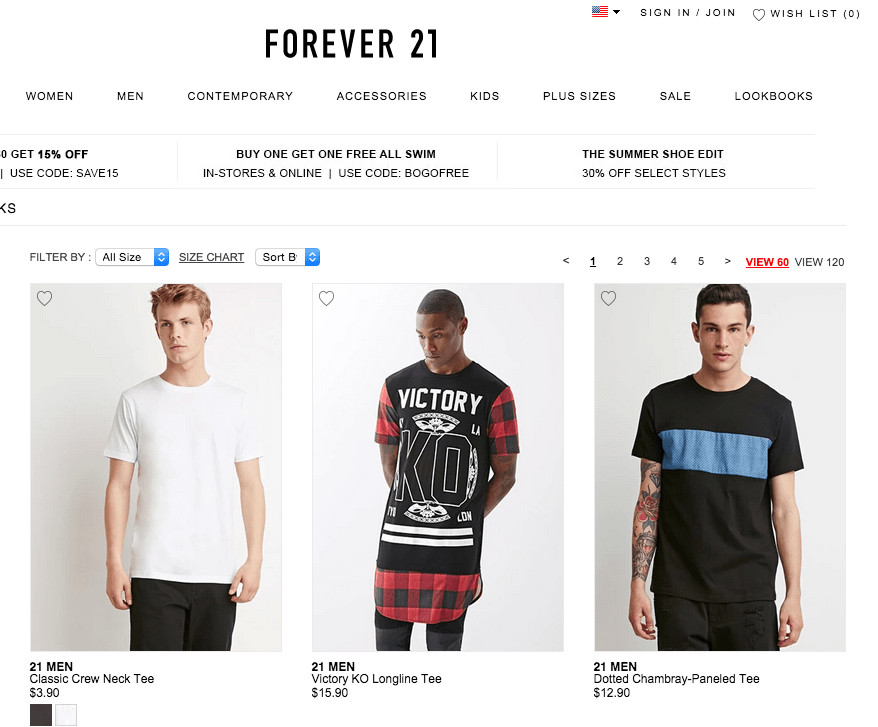 Forever 21 Category Page