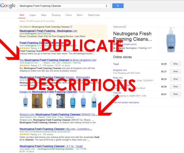 Google search results for Neutrogena Fresh Foaming Cleanser. The second and fourth results both have the exact search text. Arrows pointing to both results are labeled duplicate descriptions.