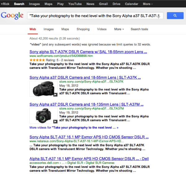"""Google search results for """"Take your photograph to the next level with the Sony Alpha a 37 S L T-A 37."""" The top five results have the exact text in the result."""