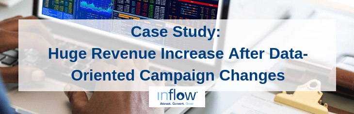 Case Study: Huge Revenue Increase After Data-Oriented Campaign Changes. Logo: Inflow. Attract. Convert. Grow.