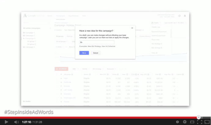 Adwords Drafts and Experiments