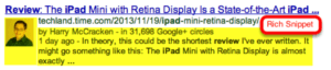 "This ""rich"" snippet includes the author's image, and links to Google+."
