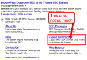 example of SERP listing you want to demote