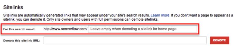 demote sitelinks