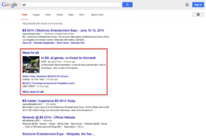 news results in SERPS