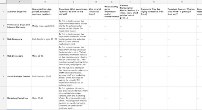 Audience Profile Worksheet Screenshot