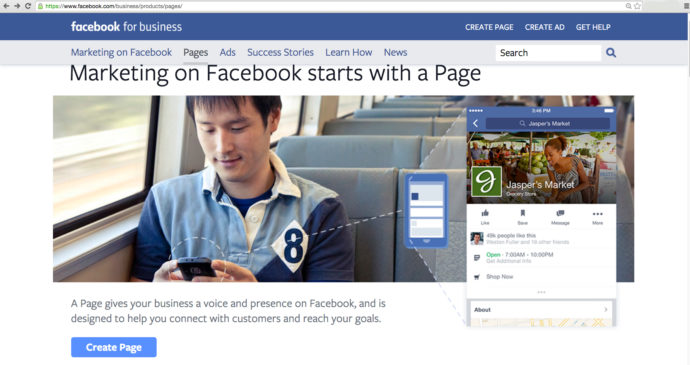 Facebook create a brand page