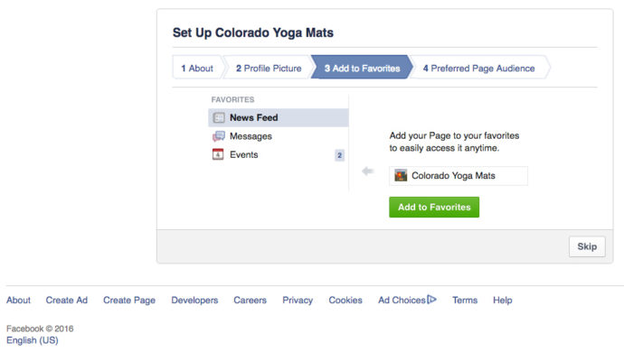 setting up favorites pages in Facebook