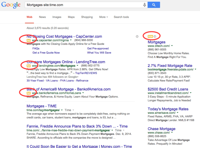 Ads in Google SERPs