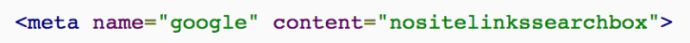 No Sitelinks Searchbox Meta Tag Code