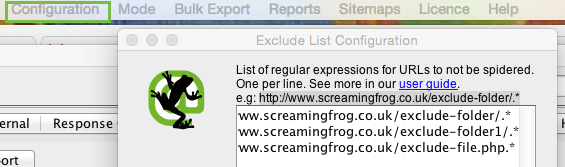 Screaming Frog Exclude List Configuration