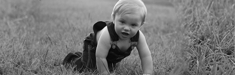 A photograph of a baby crawling in a field.
