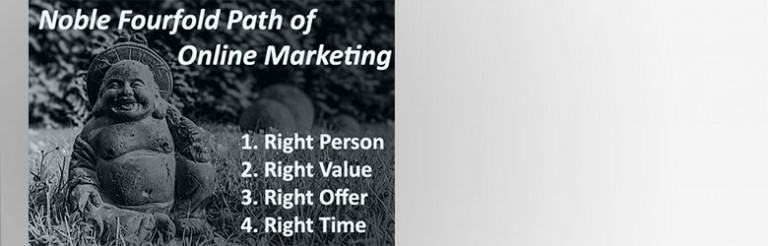 A photograph of a Buddha statue with the text: Noble Fourfold path of online marketing. 1. Right person.  2. Right value. 3. Right offer. 4. Right time.