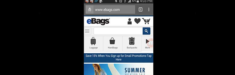 ebags mobile site review