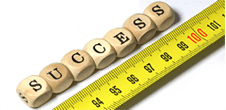 A photograph of the word success beside a ruler.