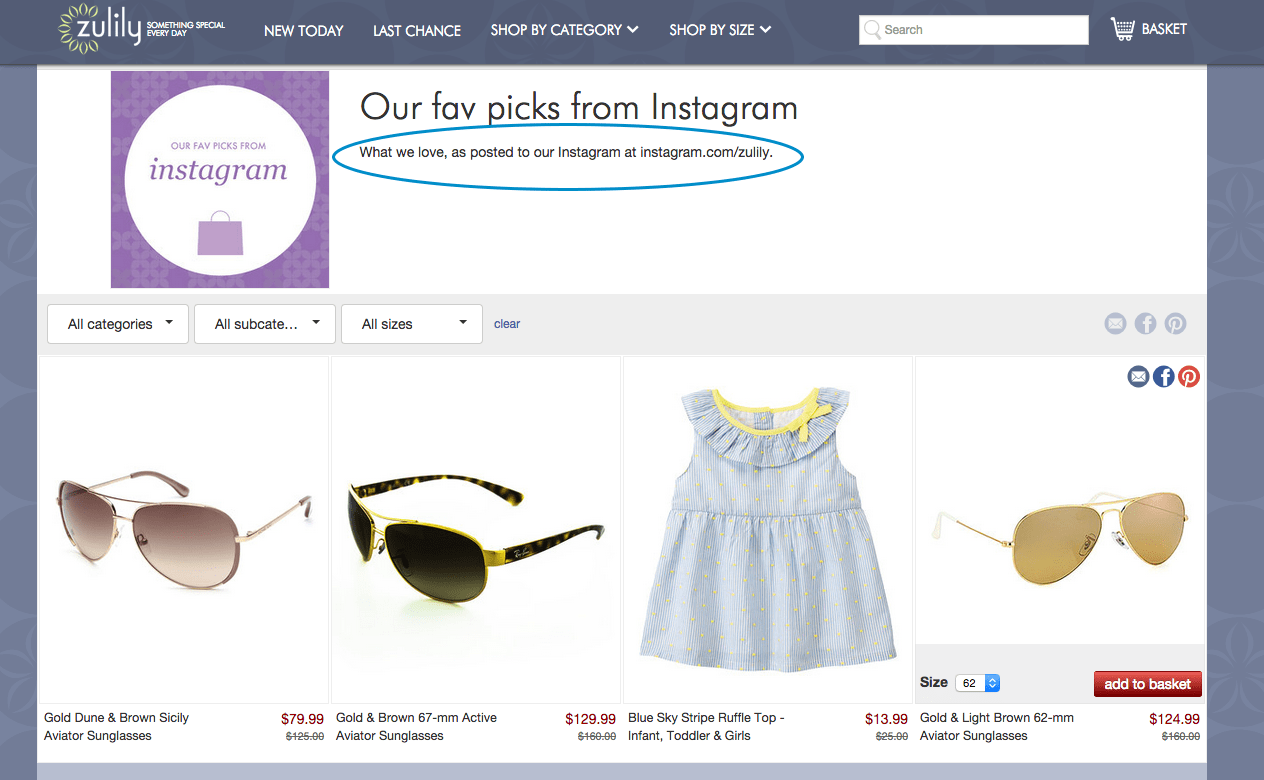 Zulily Funnel Page