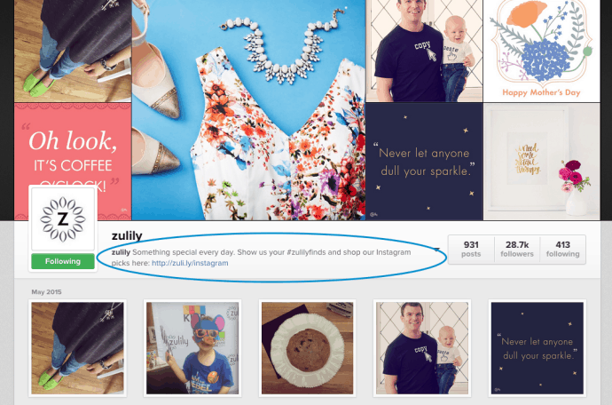 Zulily IG Profile
