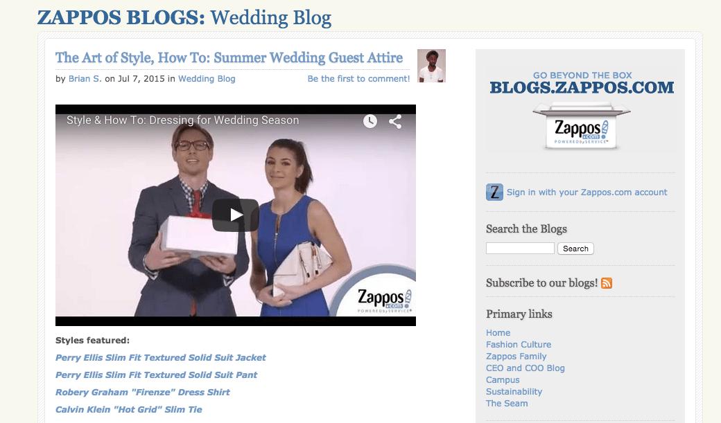 Zappos Wedding blog