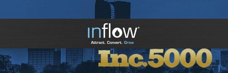 Inc. 5000. Logo: Inflow. Attract. Convert. Grow.