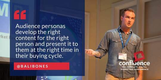 """A photograph of Everett presenting at the Confluence conference. Text states """"Audience personas develop the right content for the right person and present it to them at the right time in their buying cycle."""" @Balibones."""