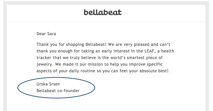 Email from the founder.