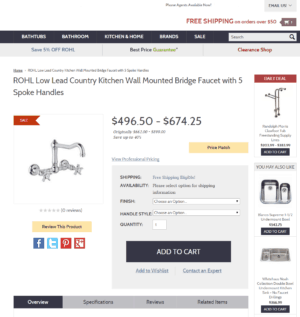 Standard eCommerce Product Page
