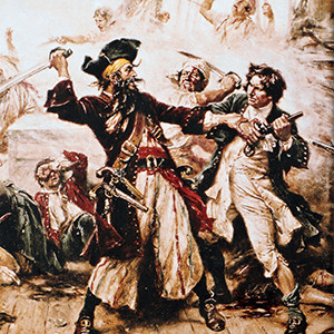 The capture of the pirate Blackbeard painting