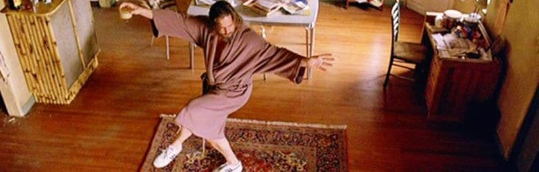 still from big lewbowski - standing on rug in robe