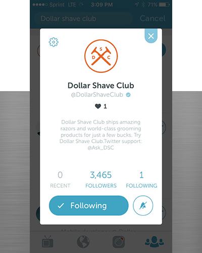 Periscope for eCommerce site Dollar Shave Club