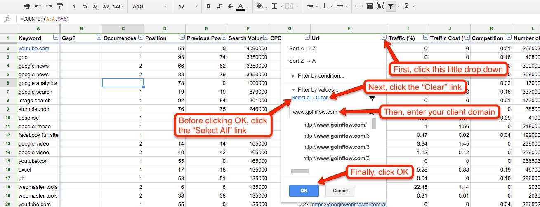 Filtering Organic Keywords for SEO