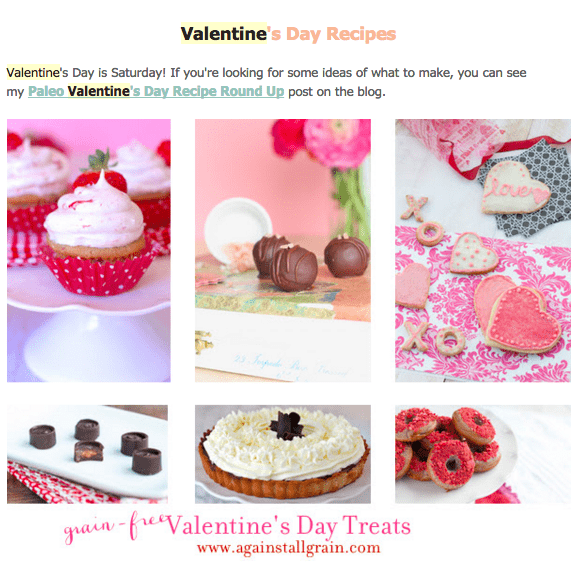 Valentine's Day Recipes - Holiday Email Marketing Example