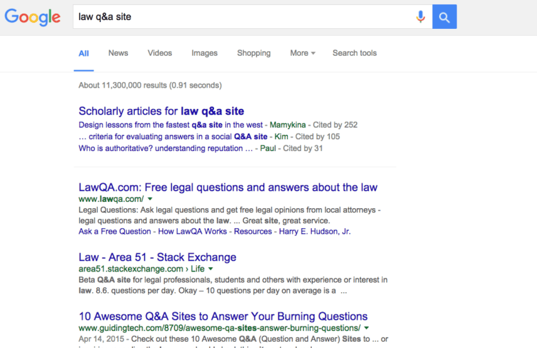 Google results for Q & A law site