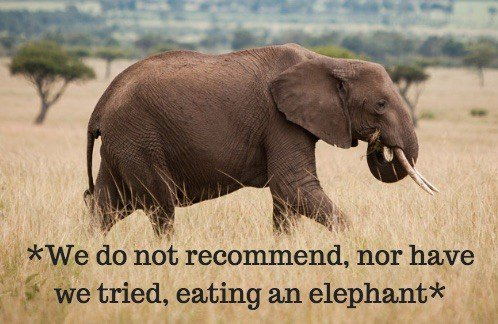 We do not recommend eating an elephant.