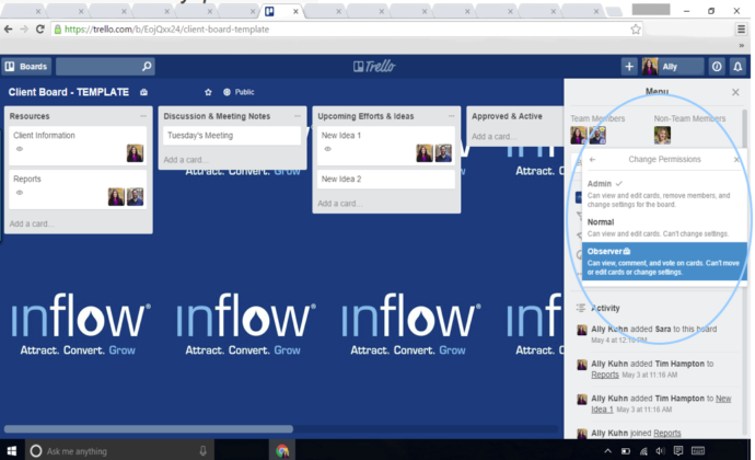 Trello Board view when adding an observer
