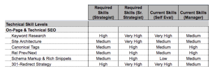 skill matrix for employeeing wanting to advance in career