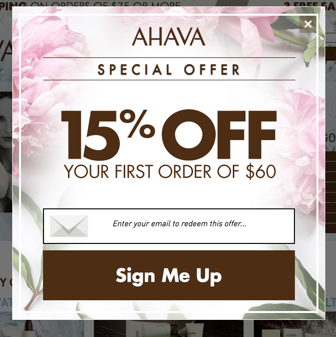 Ahava 15 Percent Off Pop-Up