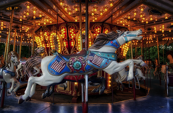carousel with a racing horse