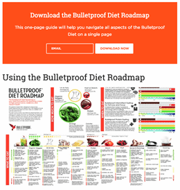 Bulletproof webpage. A banner at the top of the page states: Download the Bulletproof Diet Roadmap. Below the banner is a blurred infographic titled Using the Bulletproof Diet Roadmap.