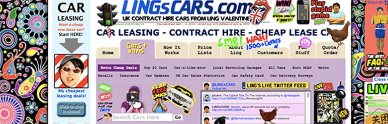 Lings Cars.com website consists of text and images placed close to and over each other.