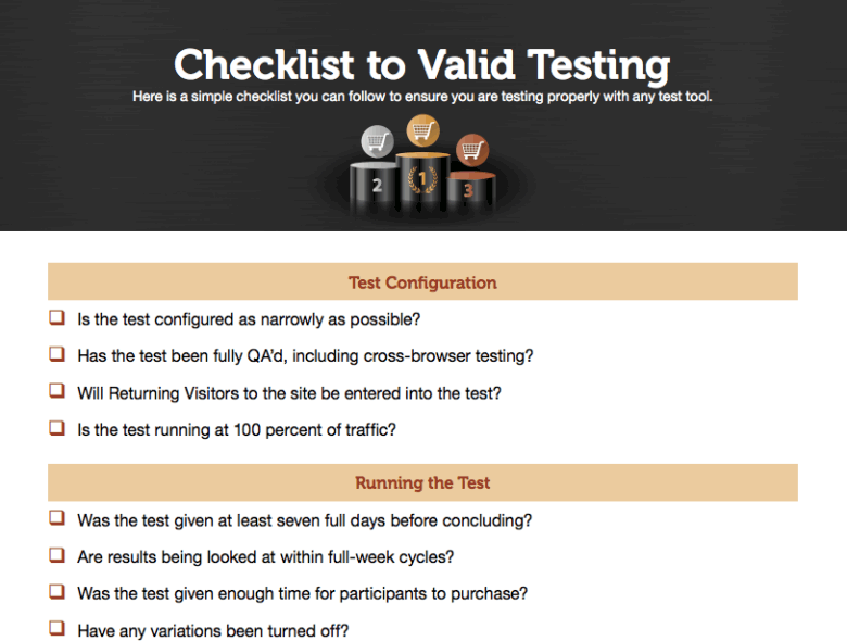 Get the Valid Testing Checklist!