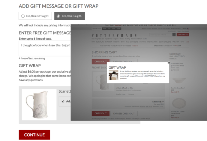 Gift wrapping options at Pottery Barn