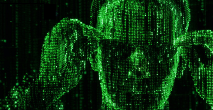 Neo from the matrix in green code on black background