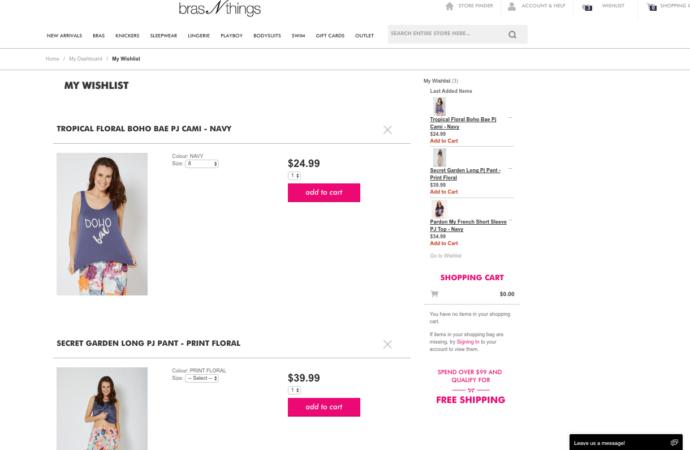 wishlist feature on bras N things eCommerce website